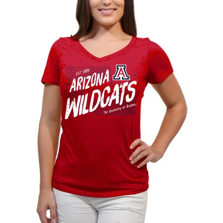 Arizona Wildcats Scatter Doodle Women'S/Juniors Team Short Sleeve V Neck Tee Shirt - Arizona Wildcats Baseball