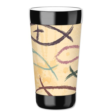 Mugzie 16-Ounce Tumbler Drink Cup with Removable Insulated Wetsuit Cover - Fish Symbols - Halloween Tumblers Uk