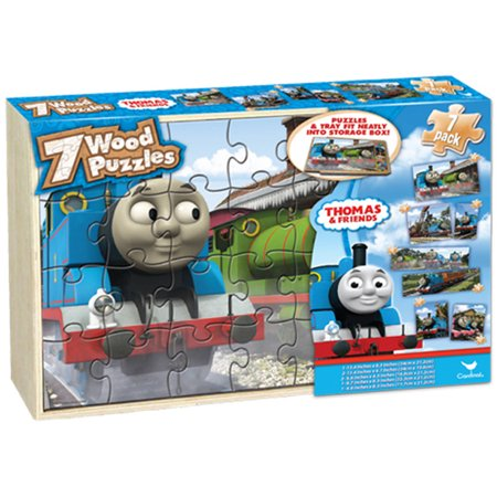 Thomas And Friends 7 Wood Jigsaw Puzzles In Storage Box