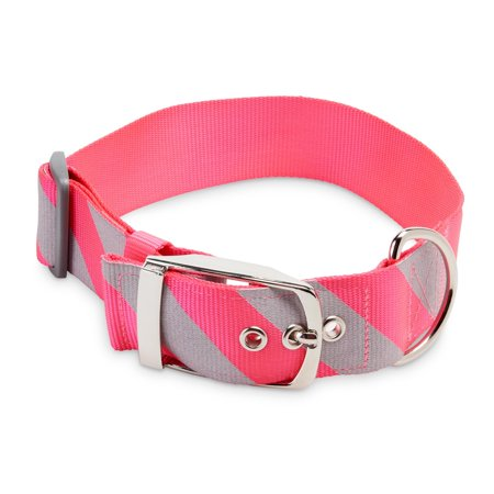 Vibrant Life Extra-Wide Pink/Gray Striped Dog Collar,