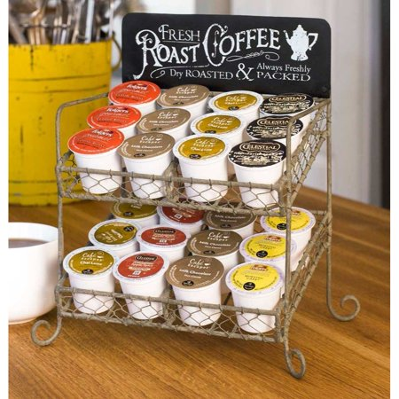 Vintage K-Cup Coffee Pod Country Kitchen Stand Organizer Tabletop Display 24 Pods Colonel Coffee Mug