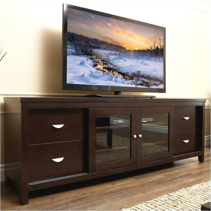 "Bowery Hill 72"" Wood TV Stand in Espresso"