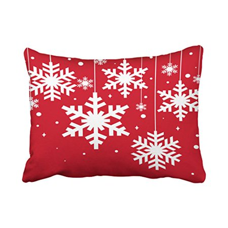 RYLABLUE Decorative Red And White Winter Snowflakes Throw Pillow Cover Decorative Size 20x30 inches Two Side - image 1 of 1