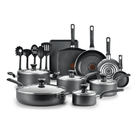 T-fal Easy Care 20-Piece Nonstick Cookware Set, Thermospot, Grey, B087SKDW