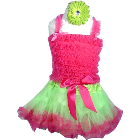 Pettiskirt Set -   Lime - Hot Pink Pettiskirt , Pettitop and Daisy Hair Clip LG 5-6](Daddy Clips)