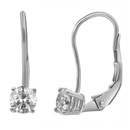 14k White Gold Real Diamond Solitaire Leverback Earrings 0 25ct