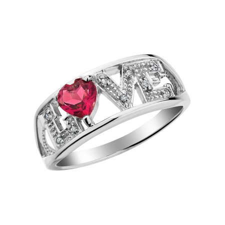 Created Ruby Love Ring with Diamonds 2/5 Carat (ctw) in Sterling Silver - image 1 of 1