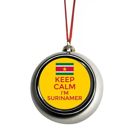 Keep Calm I'm Surinamer - Flag Suriname Ornaments Silver Bauble Christmas Ornament Ball Tree Decor