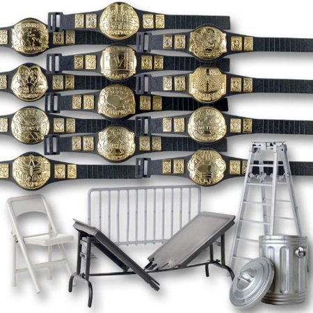 Wrestling Action Figure Gear Special Deal: Set of 12 Figure Belts (series 1) Plus 5 Accessories For WWE Figures - Special Halloween Wwe