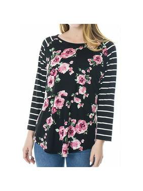 Nursing Tops Women Maternity Breastfeeding Tee Nursing Tops Floral Long Sleeve T-shirt Black S
