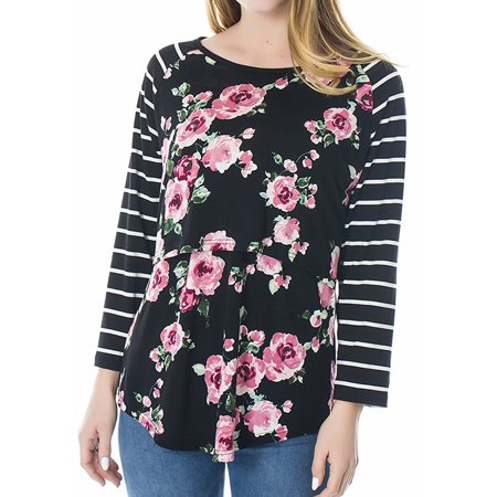 Nursing Tops Women Maternity Breastfeeding Tee Nursing Tops Floral Long Sleeve T-shirt Black S
