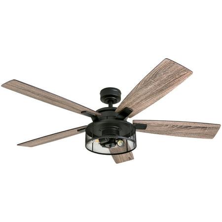 honeywell carnige 52 matte black led industrial ceiling fan with
