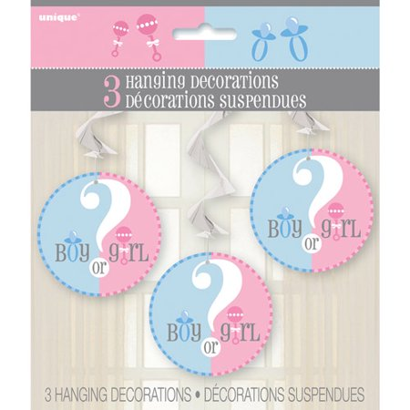 Hanging Gender Reveal Decorations, 26 in, 3ct (Gender Reveal Decorations)