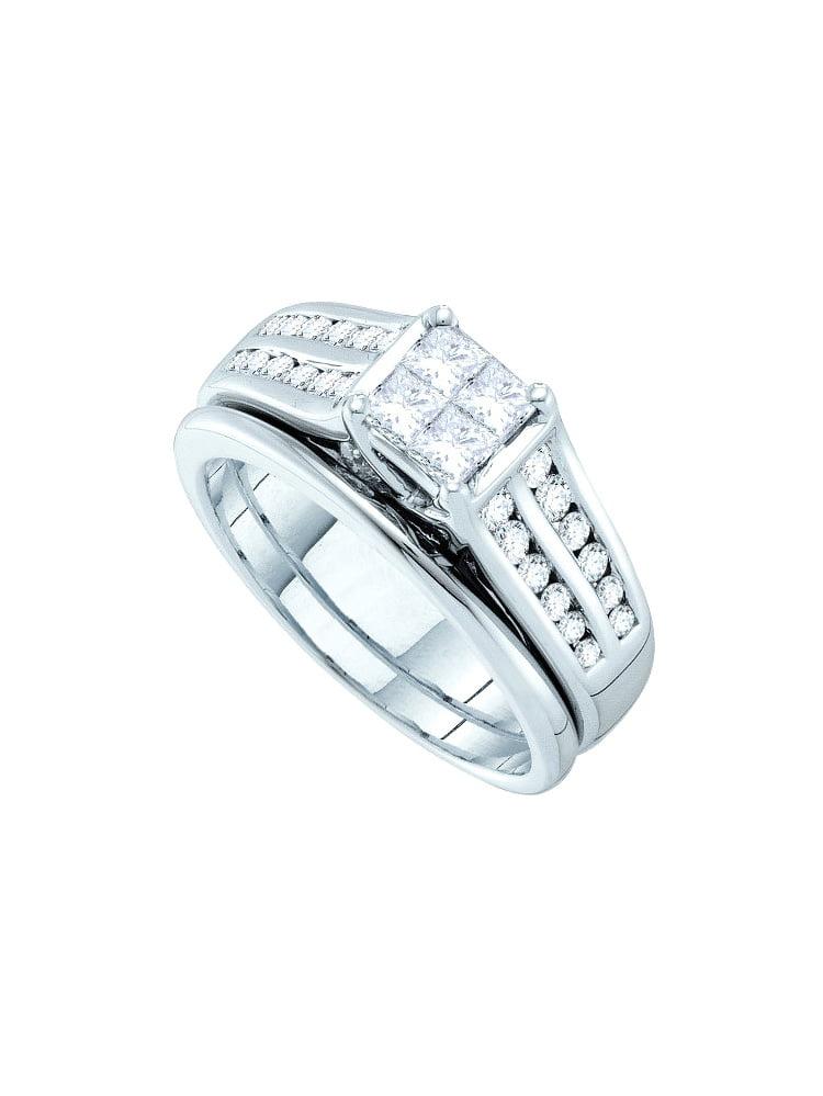 14k White Gold Princess Natural Diamond Womens Luxury Wedding Bridal Set (1.00 cttw.) size- 8.5 by