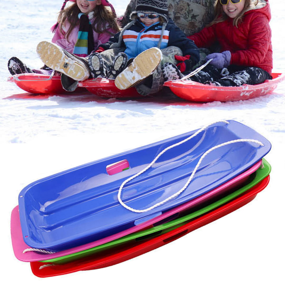 Snow Sled Toboggans Snow Grass Sand Board Ski Pad Snowboard Sled Luge Snow Sledding Equipment for Children Kids Snow Sledges Board Outdoor Winter Plastic Skiing Board Snow Sleds Blue