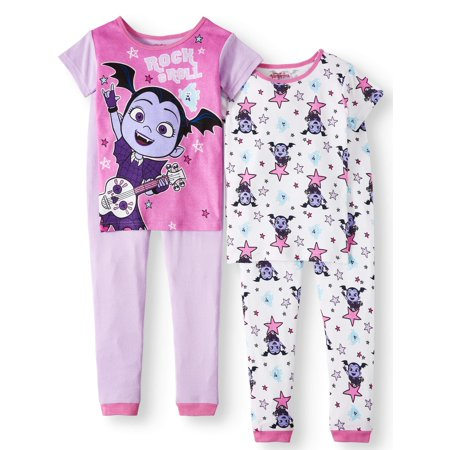 Girls Pajamas Size 7 (Girls' Vampirina 4 Piece Pajama Sleep Set (Little Girl & Big)