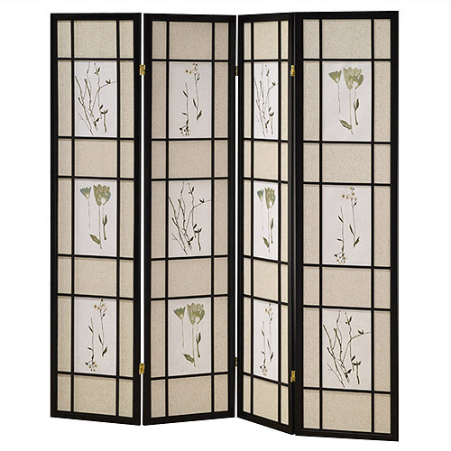 ORE International 4-Panel Shoji Screen, Black