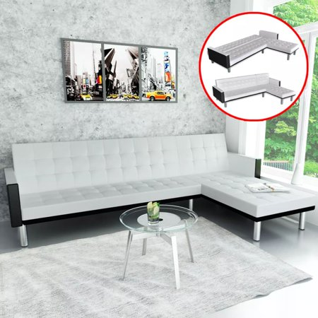 L Shape Sofa Bed Living Room Bedroom Corner Artificial Leather Folding Sofa Home Furniture ()