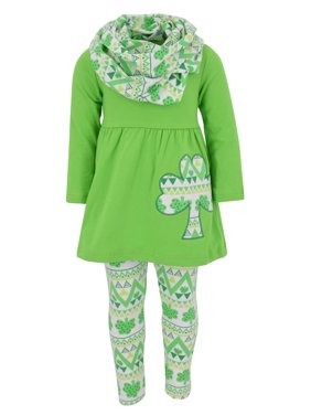 Unique Baby Girls St Patrick's Day Repeating Clovers Legging Set (2T/XS, Green)