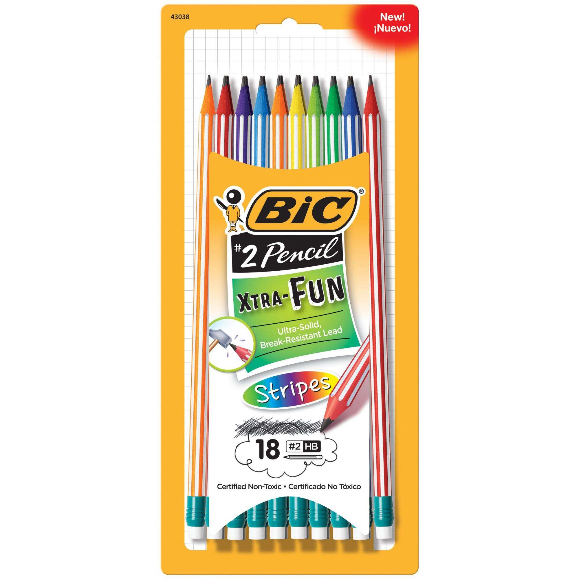Bic Xtra-Fun Stripes Woodcase Pencils, #2 HB, Black Lead, 18-Count
