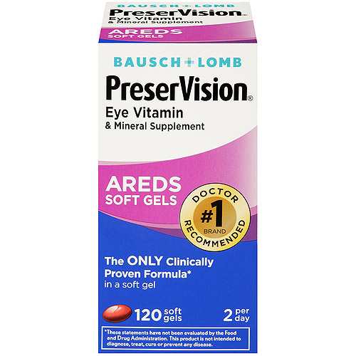 Bausch & Lomb PreserVision Eye Vitamin and Mineral Supplement with Areds - 120 Softgels