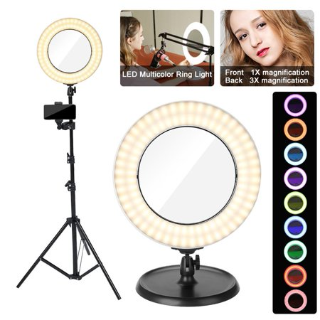 Yosoo LED Selfie Ring Light for Phone Video Shooting Makeup YouTube Portrait Photography with Stand Mirror Table Top Dimmable Camera Photo Lamps 36W 4800LM Video Circle Lights