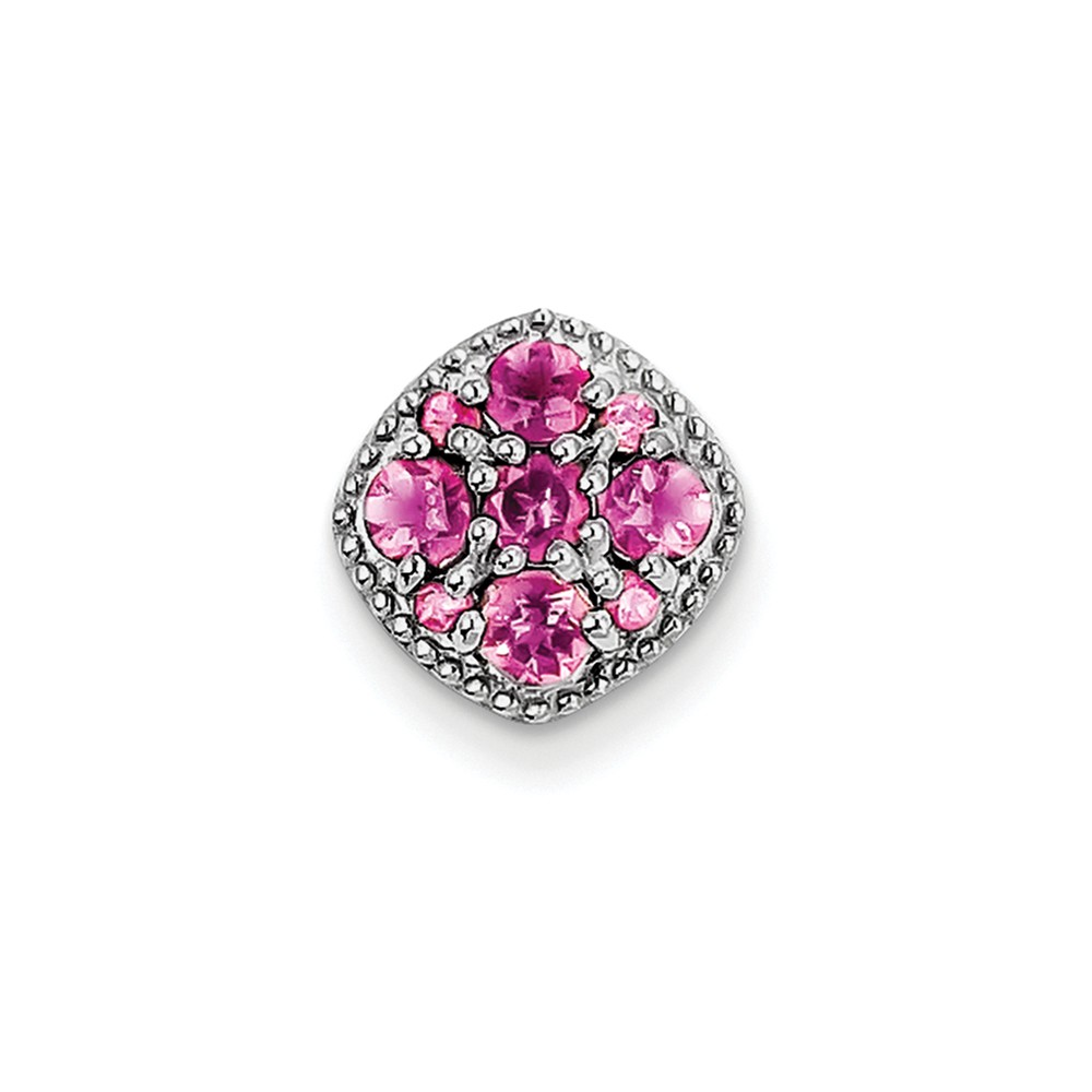 925 Sterling Silver Rhodium Plated Pink Tourmaline Pendant Slide (23mm x 13mm) by