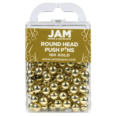 JAM PAPER Colorful Round Head Push Pins - Gold Pushpins - 100/Pack - image 4 of 4