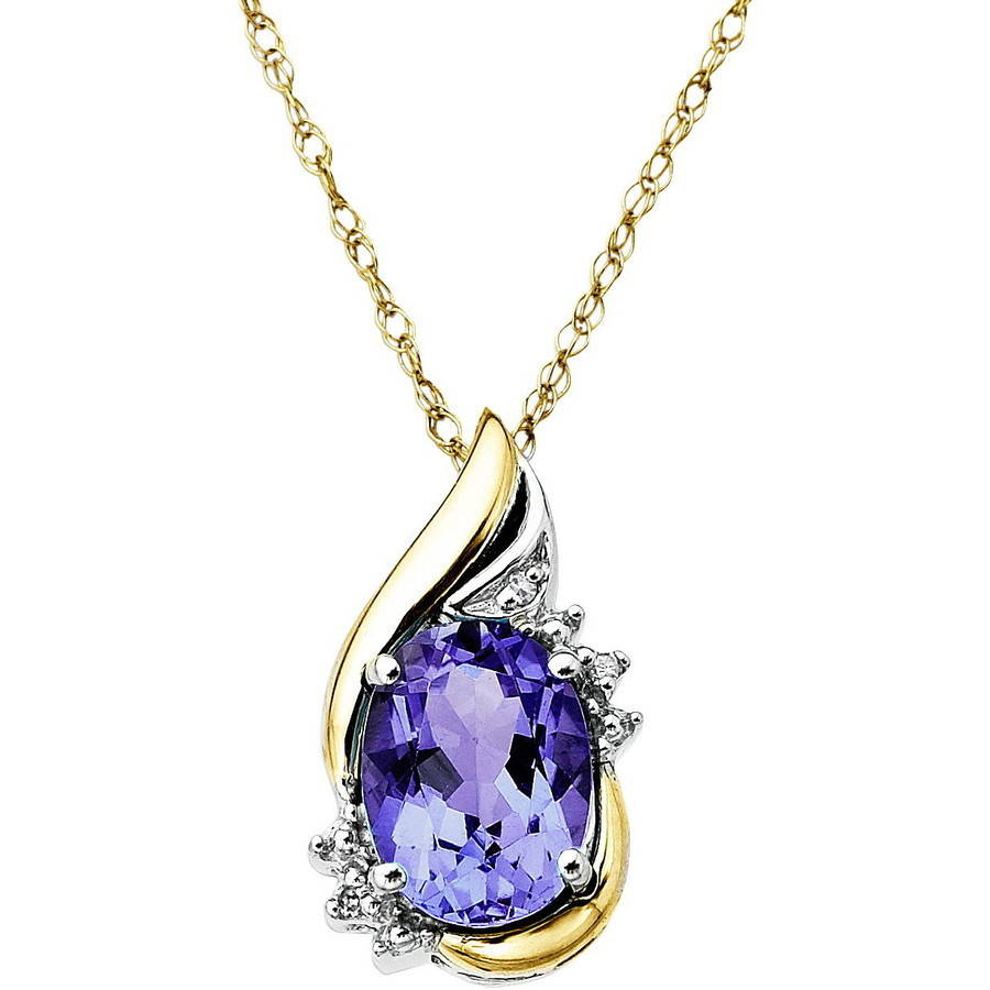 Duet Sterling Silver with 10kt Yellow Gold Oval Amethyst and Diamond Accent Pendant