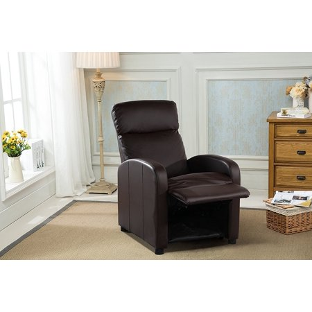 Reclining Accent Chair for Living Room, Faux Leather Cushioned Arm Chair (Brown)
