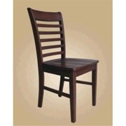 East West MC-MAH-W Milan ladder back chairs with wood seat, Mahogany - Pack of 2