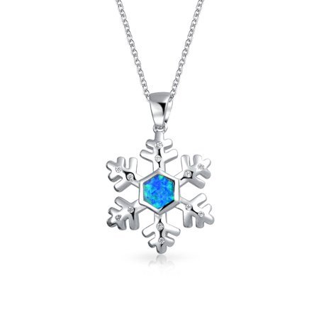 Inlaid Blue Created Opal Winter Holiday Snowflake Pendant Necklace For Women For Teen 925 Sterling Silver With -