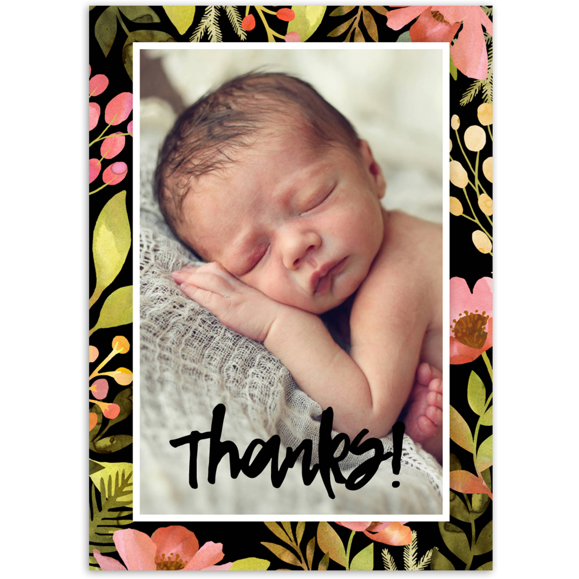 Bright Floral Baby Thank You Card
