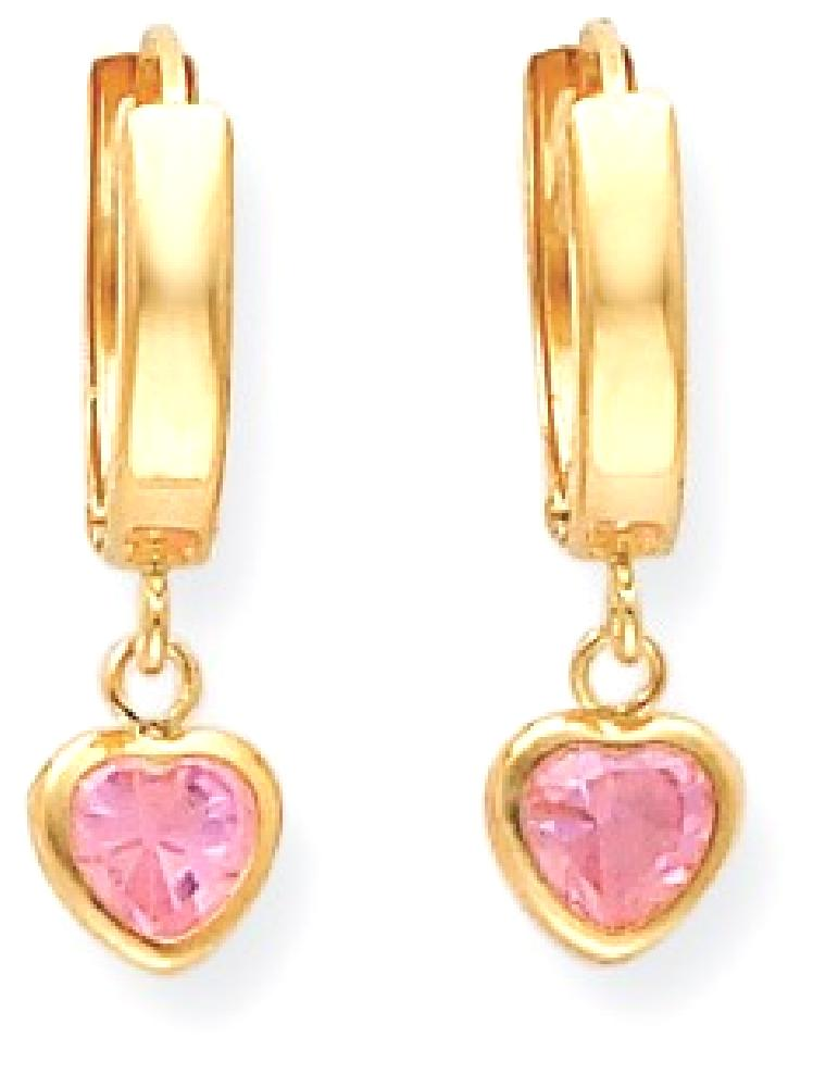 ICE CARATS ICE CARATS 14kt Yellow Gold Hinged Pink Cubic Zirconia Cubic Zirconia Heart Hoop Earrings Ear Hoops Set Drop... by IceCarats Designer Jewelry Gift USA