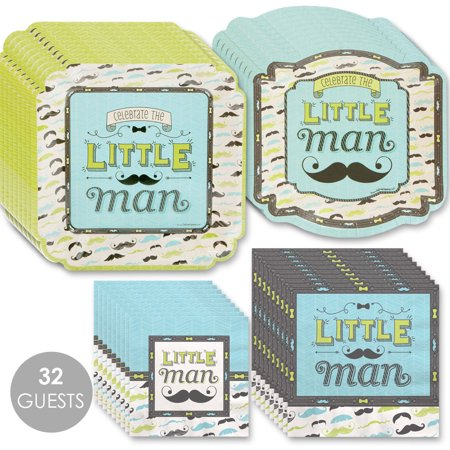 Dashing Little Man Mustache - Party Tableware Plates and Napkins - Bundle for 32 for $<!---->