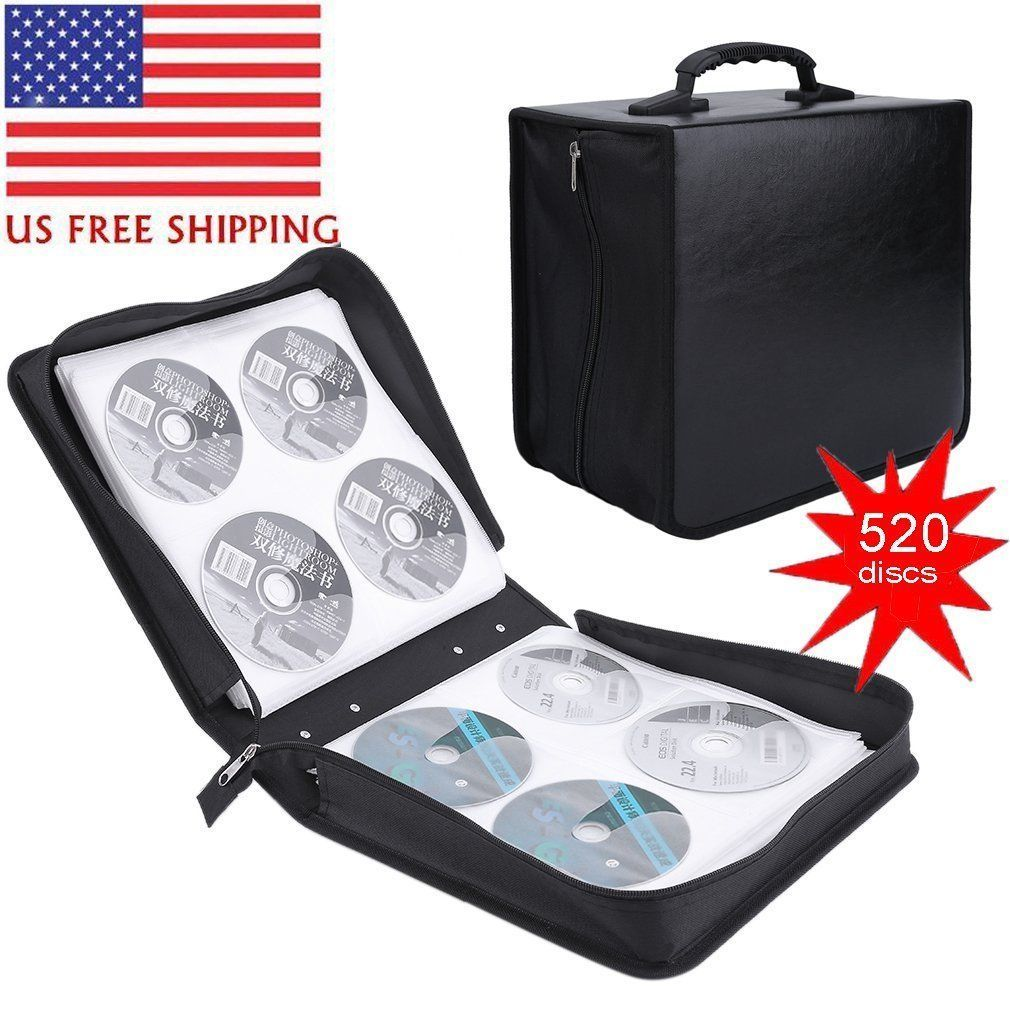520 Disc CD DVD PC driver disc Storage Bag Organizer High-Grade Leather Holder Media Carry Case Wallet Cover Bag Black
