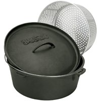 Bayou Classics Cast Iron Dutch Oven with Aluminum Basket
