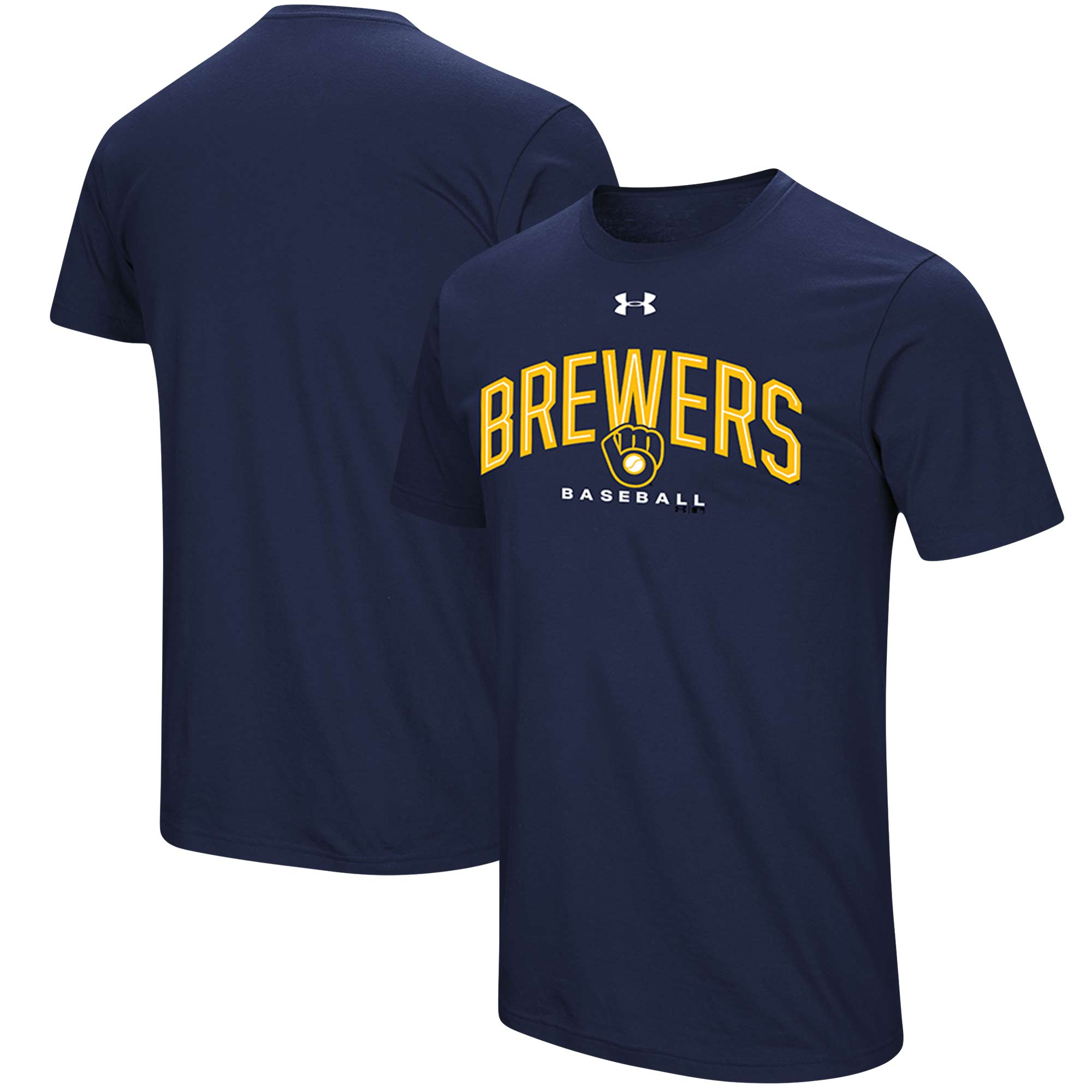 Milwaukee Brewers Under Armour Performance Arch T-Shirt - Navy