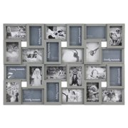 Photo Frame Picture Frame - 24 Sockets Gray Finish Frame Collage Collection Wall Hanging Picture Photo Display Frame 4 x 6 Large Multi Decor Home Family Friend (24 Sockets)