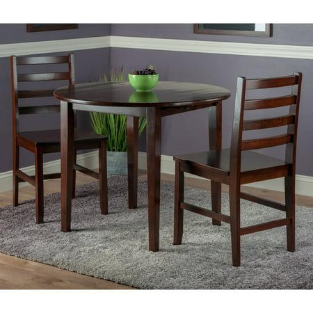 Clayton 3 Pc Set Drop Leaf Table With 2 Ladderback Chairs Walmartcom