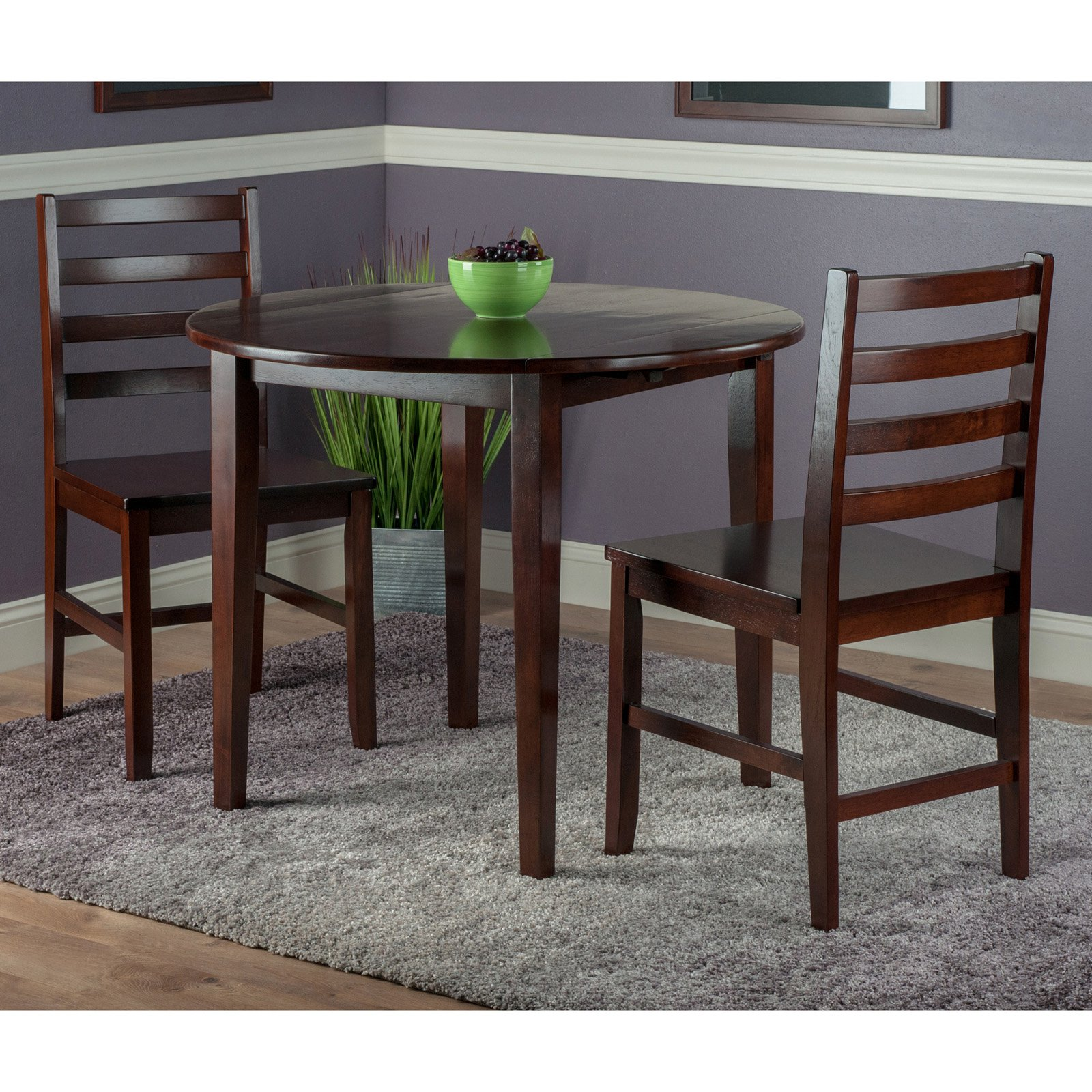 Clayton 3-PC Set Drop Leaf Table with 2 Ladderback Chairs