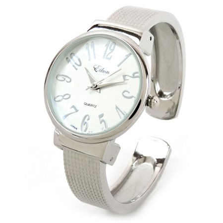 Dial Bangle Bracelet Watch - Silver Mesh Style Band Large Dial Easy to Read Women's Bangle Cuff Watch