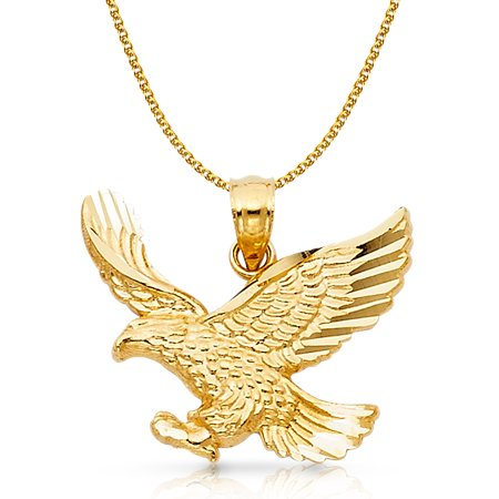 14K Yellow Gold Eagle Charm Pendant with 1.5mm Flat Open Wheat Chain Necklace