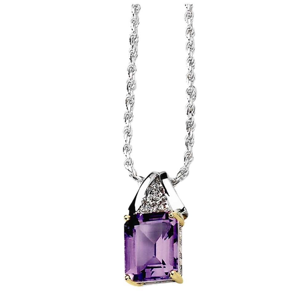925 Sterling Silver Amethyst and Diamond Rectangular Cut Necklace by gemaffair
