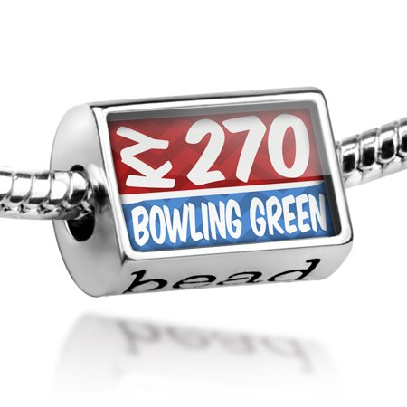 Bead 270 Bowling Green, KY red/blue Charm Fits All European Bracelets ()
