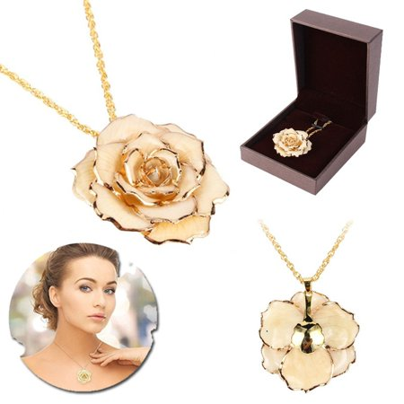 24k Gold Gilt (Yosoo 30mm Golden Necklace Chain with 24k Gold Dipped Real Rose Pendant Gift for Women)