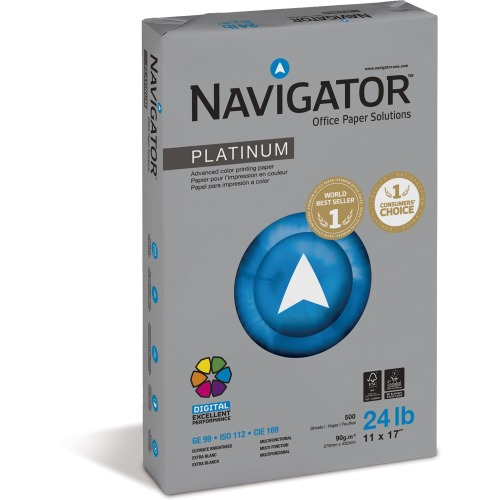 """Navigator Platinum Copy & Multipurpose Paper - 11"""" x 17"""" - 24 lb Basis Weight - 0% Recycled Content - Extra S SNANPL1724"""