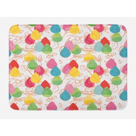 Abstract Bath Mat, Color Droplets with Cherry Branches Leaves Curved Lines Autumn Background Design, Non-Slip Plush Mat Bathroom Kitchen Laundry Room Decor, 29.5 X 17.5 Inches, Multicolor, Ambesonne