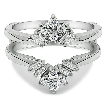 Cubic Zirconia Mounted In Sterling Silver V Shaped Round and Tapered Baguette Ring Guard (0.56ctw)