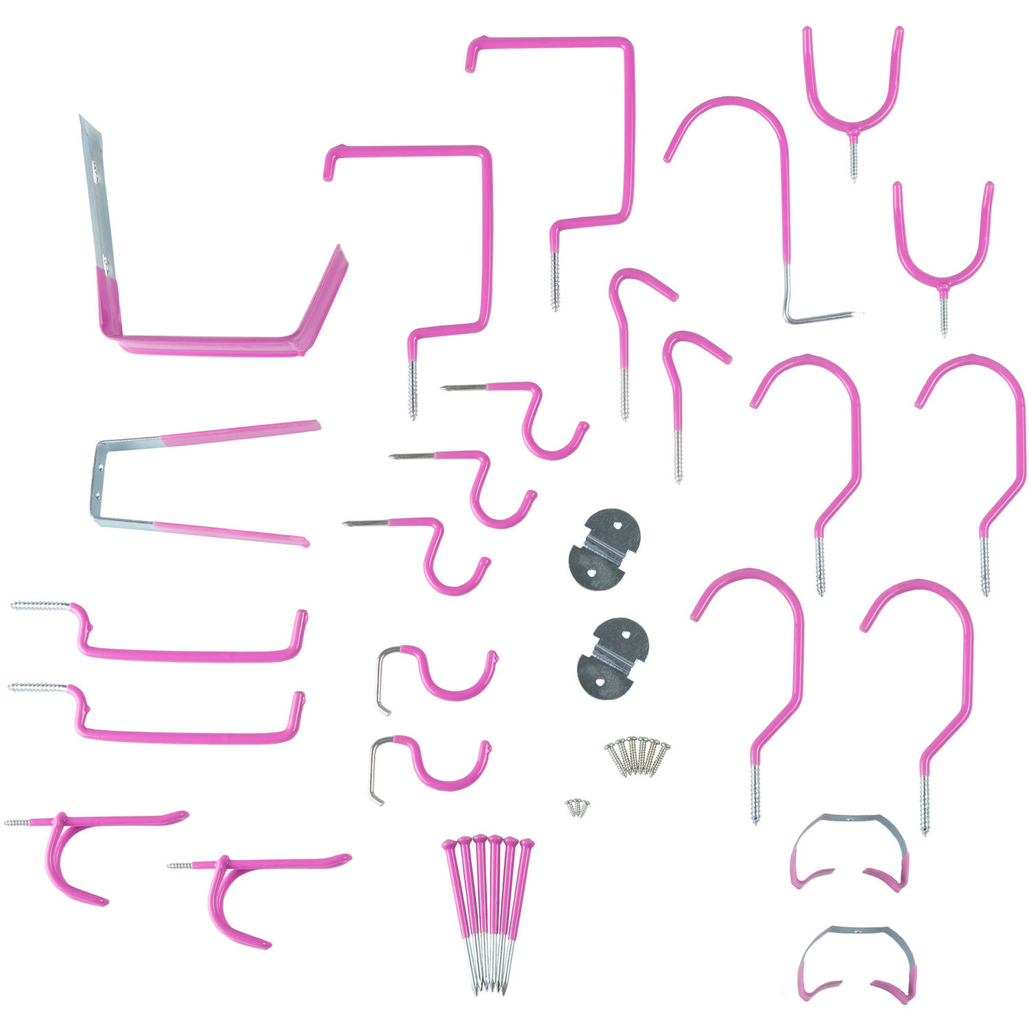 Stalwart 30-Piece Hang it Yourself Home Garage Wall Hook Kit, Hot Pink